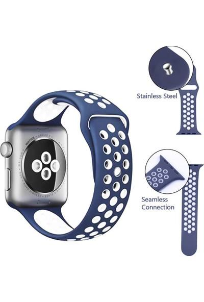Case 4U Apple Watch Seri 5-4-3-2-1 Delikli Spor Kayış 42 mm - 44 mm Mavi - Beyaz