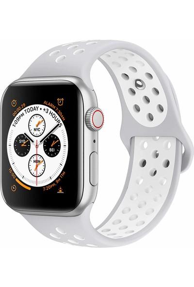 Case 4U Apple Watch Seri 5-4-3-2-1 Delikli Spor Kayış 42 mm - 44 mm Gri - Beyaz