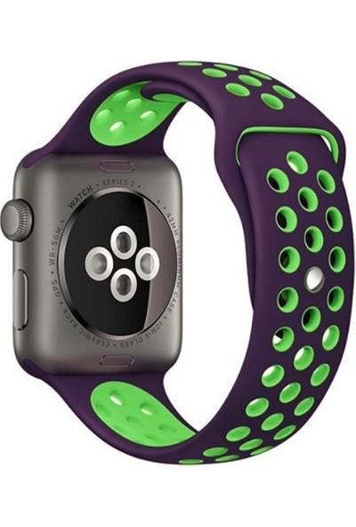 Case 4U Apple Watch Seri 6/SE/5/4 Delikli Spor Kayış 44mm 42mm Uyumlu Mor - Yeşil