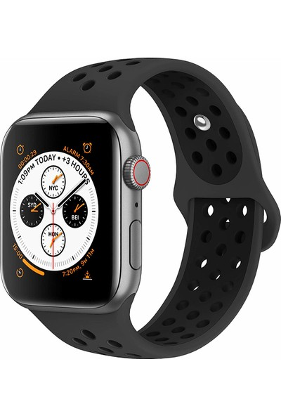 Case 4U Apple Watch Seri 5-4-3-2-1 Delikli Spor Kayış 42 mm - 44 mm Siyah