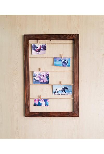 Ahşap Kutular 10 Mandallı Dikey Fotoğraf Çerçevesi
