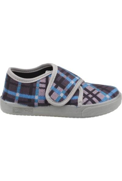Sanbe 106P126 Okul Kreş Kız/Erkek Çocuk Keten Panduf Ayakkabı Gri