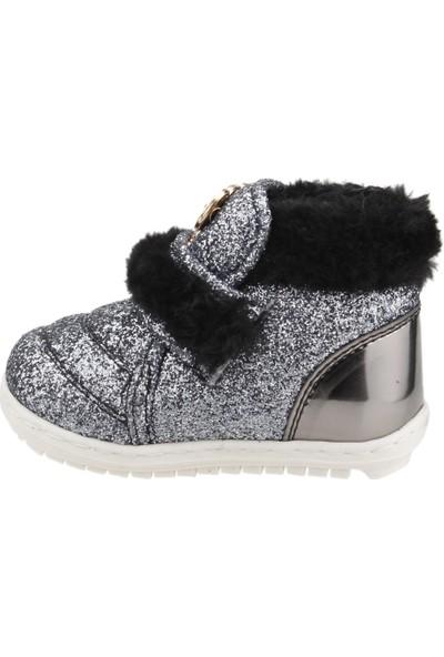 Sanbe 307P203 Kışlık Cırtlı Kız Çocuk İlk Adım Bot Ayakkabı Platin
