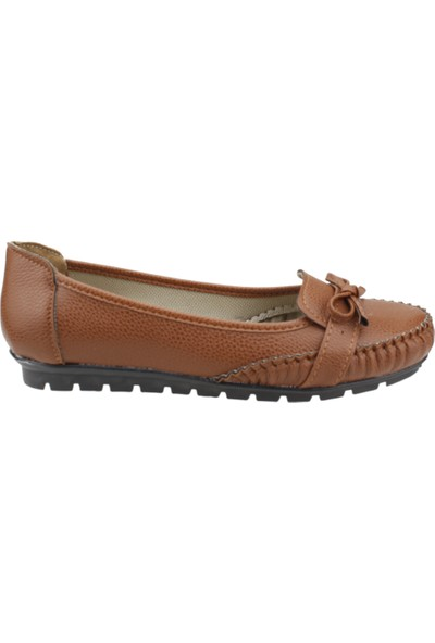 Annamaria V - 09 Günlük Büyük Numara Cilt Kadın Babet Ayakkabı Taba