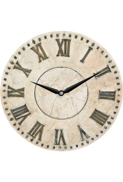 Zarif Ahşap Yuvarlak Dekoratif Klasik Duvar Saati 50 x 50 cm Uv Baskı