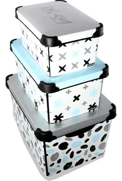 Qutu Style Box Little King Set Dekoratif Kutu 3parça