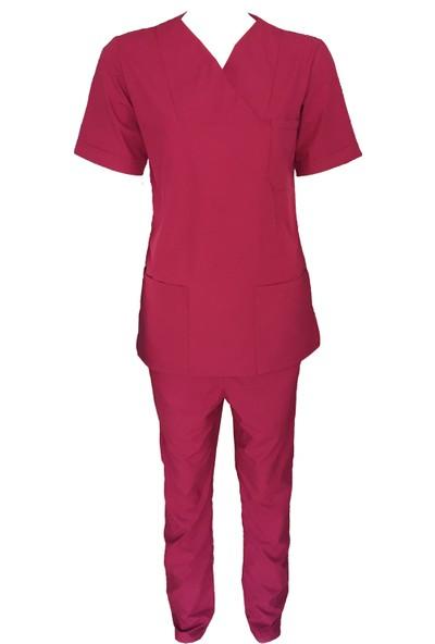 Palmiye Üniforma Hemşire Takımı Terrycotton Kumaş Zarf Yaka