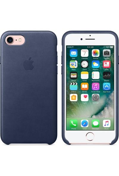 Intouch Apple iPhone 7/8 Deri Kılıf - Koyu Lacivert