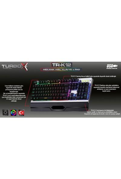 Turbox TR-K12 Rgb Işıklı Metal Kasa Bilek Padli Gaming Klavye