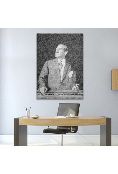 Çerçevelet Atatürk Karakalem Tablo 25 x 35 cm