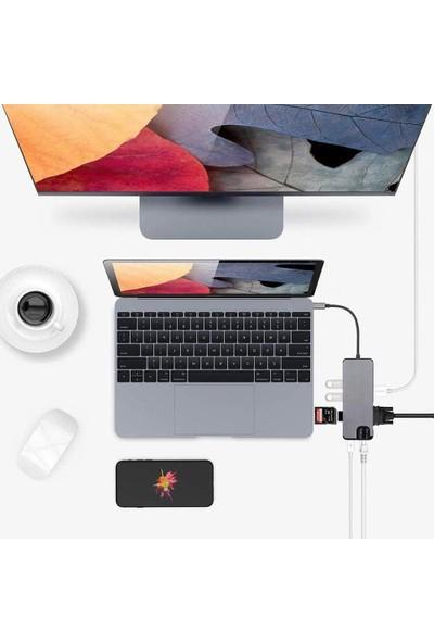 Mobitell Type-C To USB 3.0 Çoklayıcı Ethernet 4K HDMI 8 in 1 SD/TF Adaptör