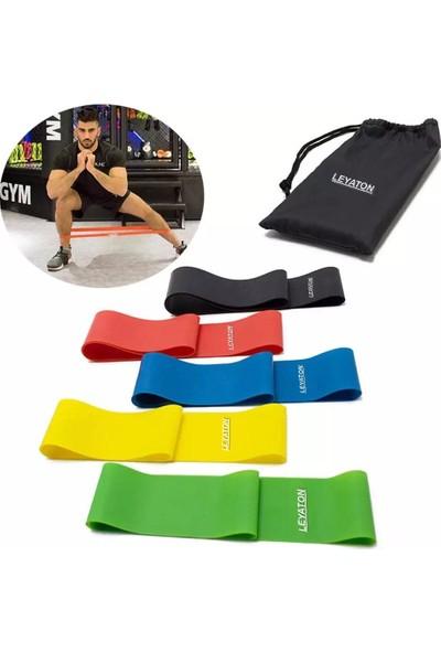 Leyaton 5'li Aerobik Band Latex Aerobik Bandı Pilates Yoga Lastiği Seti