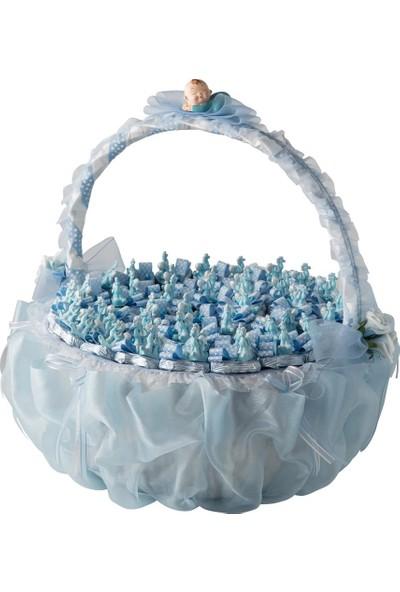 Şekerci Cafer Erol Yuvarlak Büyük Boy Saplı Mavi Bebek Doğum Sepeti 43 Adet Çikolatalı