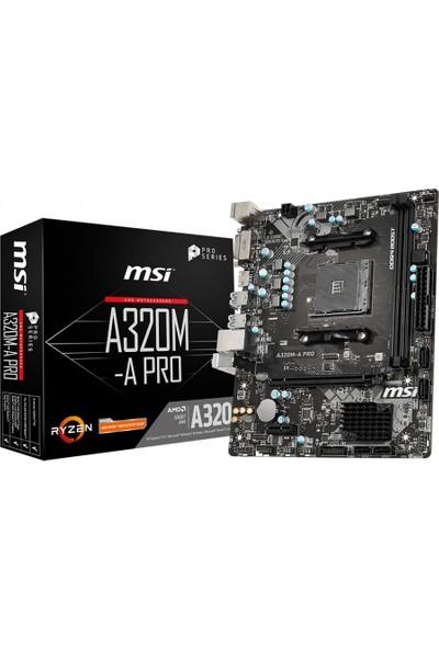 MSI A320M-A Pro AMD A320 3200MHz DDR4 mATX Anakart