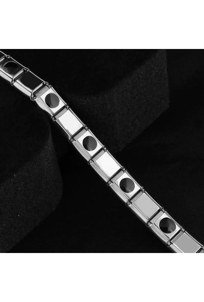 VipBT Turmalin Titanyum Çelik Enerji ve Denge Bilekliği