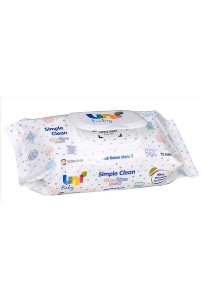 Uni Baby Simple Clean Islak Havlu Mendil 72'li 12 Paket - 864 Yaprak