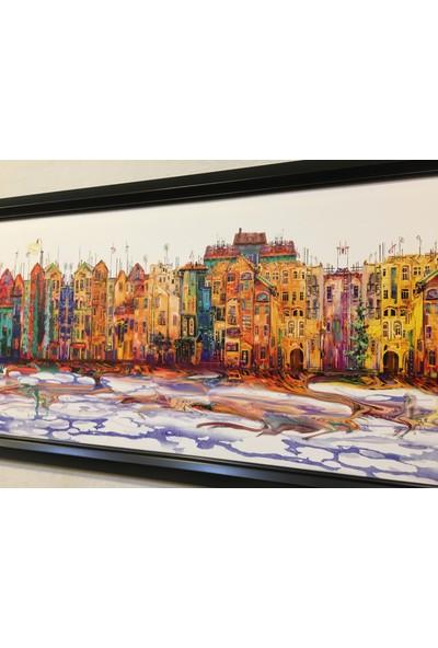 Mapofx Renkli Evler Dekoratif Tablo