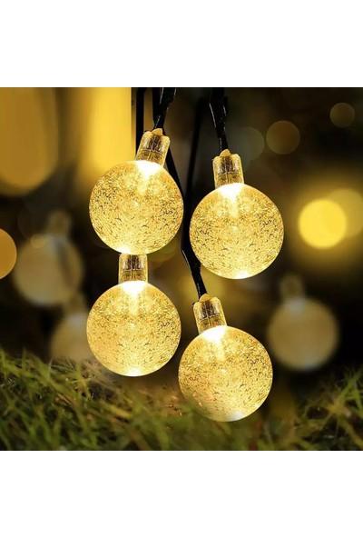 Led Dükkanı 30 LED 5 m Pilli Sarı Ağaç Noel Yılbaşı Bahçe Balkon Lambası Dolama Işık