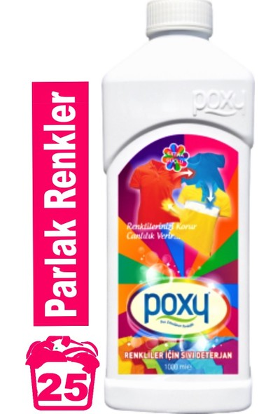 Poxy Renkliler Için Sıvı Deterjan 1000 ml
