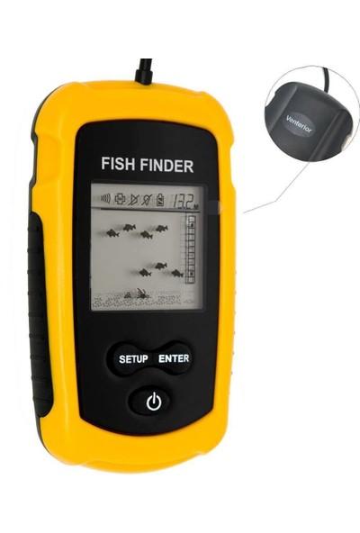 Venterior Taşınabilir Balık Bulucu, Kablolu Sonar Sensör Dönüştürücüsü ve LCD Ekranlı Balık Bulucu