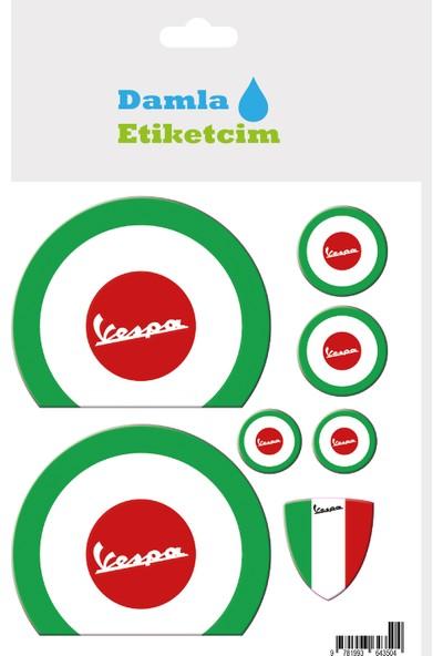 Damla Etiketcim Vespa Italyan Yuvarlak 3D Sticker