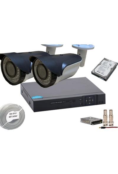 Promise 2 Kameralı Set Gece Görüşlü Ahd 3 Mp 1080p Harddisk Dahil