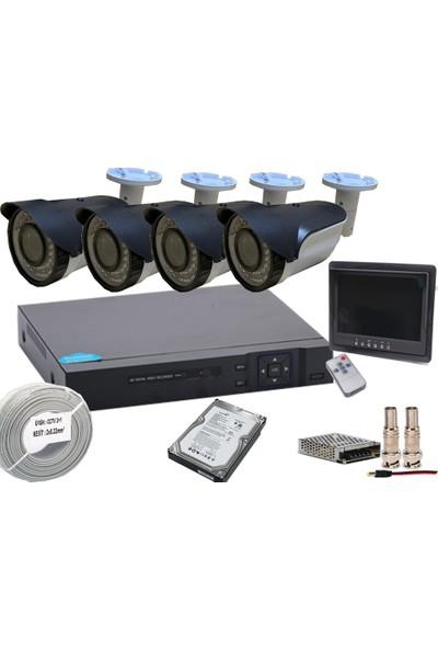 Promise 4 Kameralı Set Harddisk Ve Monitör Dahil Gece Görüşlü 3MP Paket Sistem