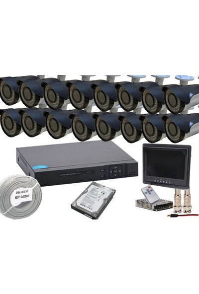 Promise 16 Kameralı Set Güvenlik Kamera Sistemi Harddisk ve Monitör Dahil 3 Mp 1080p