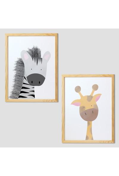 Minik Ayı Bebek Odası Dekorasyon Safari Hayvanları Çerçeve Seti