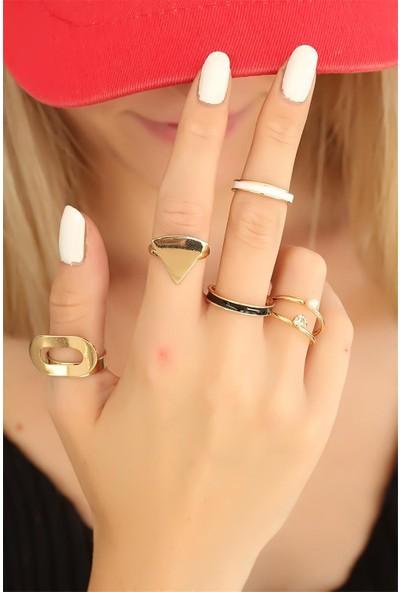 Bu Farklı Gold Renkli Trend Metal Bayan Yüzük Seti - BF14980