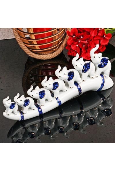 Mhk Collection Porselen 7'li Kemerli Fil Biblo