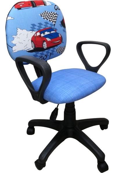 Depolife Çocuk Genç Odası Çalışma Koltuğu Döner Tekerli Sandalye Kumaş Döşeme Yarış Arabası Resimli