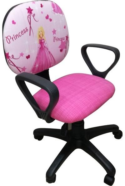 Depolife Çocuk Genç Odası Çalışma Koltuğu Döner Sandalye Tekerli Kumaş Döşeme Sindirella Resimli