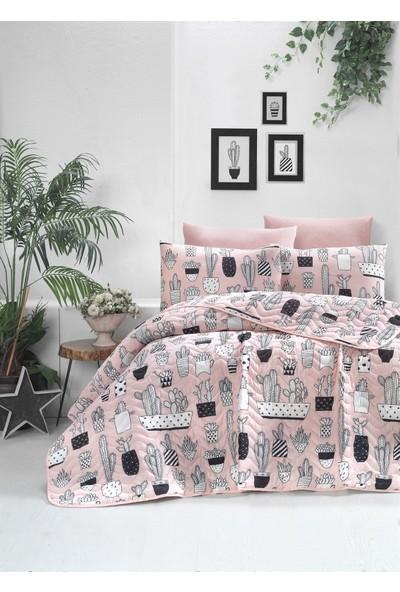 The Fabric Cactus Pudra Çift Kişilik Yatak Örtüsü Seti