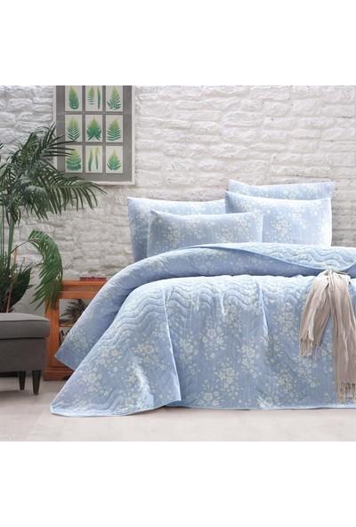 The Fabric Damla Mavi Çift Kişilik Yatak Örtüsü Seti