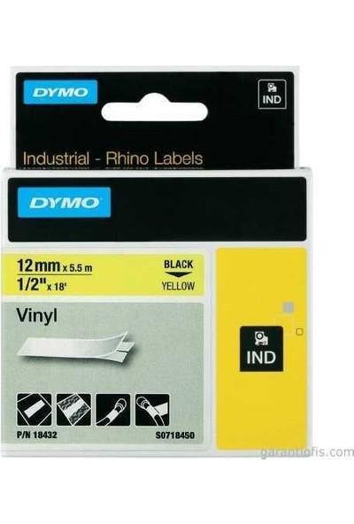 Dymo 18432 Rhinopro Renkli Vinil Şerit (12Mmx5,5Mt) Sarı/Siyah