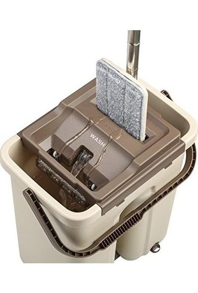 Scratch Tablet Mop Geniş Hazneli Yeni Nesil Temizlik Seti (Krem)