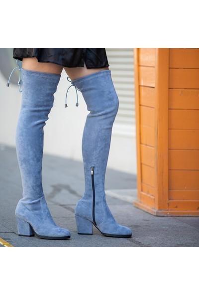 Mio Gusto Aida Mavi 7 cm Çizme