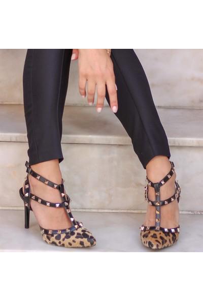 Mio Gusto Tina Leopar Topuklu Ayakkabı