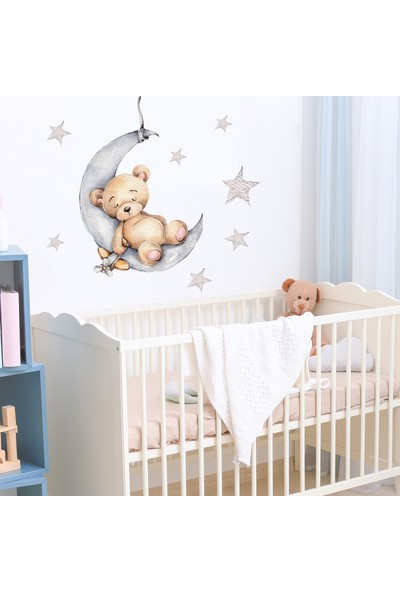 Sim Tasarım Sevimli Uykucu Ayıcık Duvar Sticker Seti 50x40