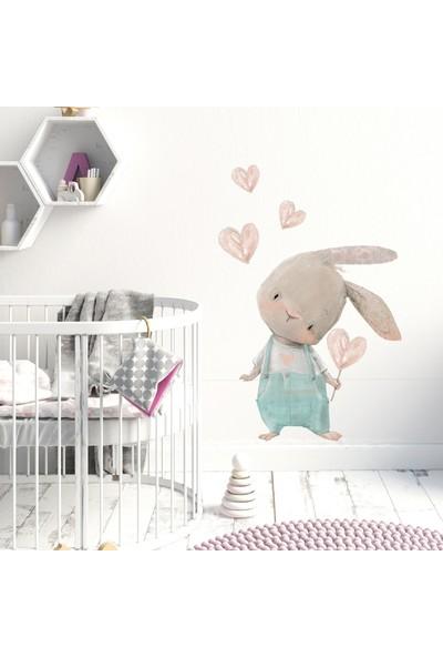 Sim Tasarım Sevimli Kalpli Tavşan Duvar Sticker Set 66x77