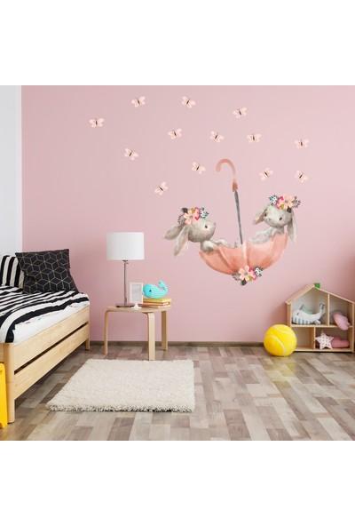 Sim Tasarım Pembe Şemsiyeli Sevimli Tavşanlar Duvar Sticker Seti 80x75