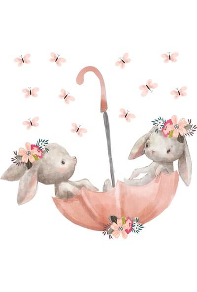Sim Tasarım Pembe Şemsiyeli Sevimli Tavşanlar Duvar Sticker Seti 60x55