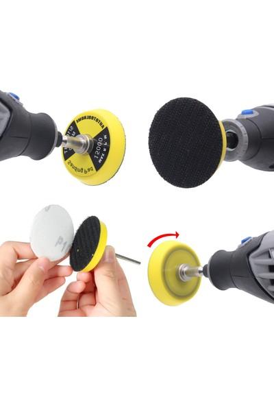 Depolife Dremel Proxxon Gravür Makina Uyumlu Küçük Cırt Taban 60 Lı Zımpara Seti Mandrenli