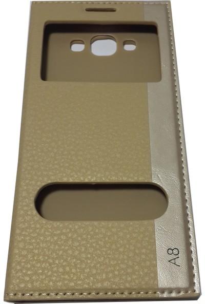 Ahi Samsung Galaxy A8 Gizli Mıknatıslı Kapaklı Kılıf - Gold