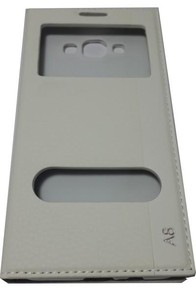 Ahi Samsung Galaxy A8 Gizli Mıknatıslı Kapaklı Kılıf- Beyaz