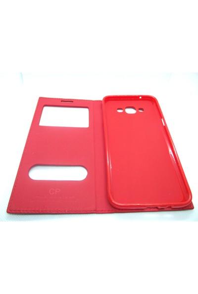 Ahi Samsung Galaxy A8 Gizli Mıknatıslı Kapaklı Kılıf- Kırmızı