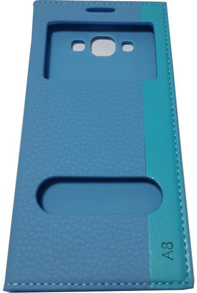 Ahi Samsung Galaxy A8 Gizli Mıknatıslı Kapaklı Kılıf Turkuaz - 10 Adet