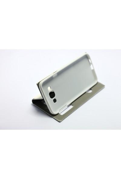Ahi Samsung Galaxy A8 Gizli Mıknatıslı Kapaklı Kılıf Beyaz - 10 Adet