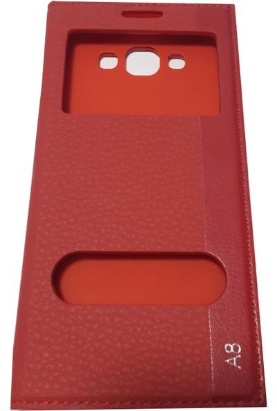 Ahi Samsung Galaxy A8 Gizli Mıknatıslı Kapaklı Kılıf Kırmızı - 10 Adet